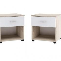 Комплект Нощни шкафчета Memo.bg модел BM035-035B, с чекмедже, Дъб сонома и бяло - Stefany Style