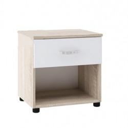 Нощно шкафче Memo.bg модел BM035B, с чекмедже, Дъб сонома и бяло - Нощни шкафчета