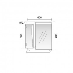 Горен шкаф за баня Melani, LED осветление - Шкафове за Баня