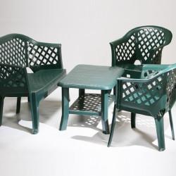Пластмасов комплект за външно обзавеждане Лори в зелен цвят - Градински комплекти