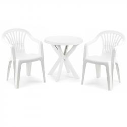 Градински комплект Memo.bg Afro Dona, Маса с 2 стола, Бял, Пластмасови - Градински комплекти