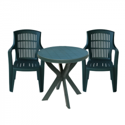 Градински комплект Memo.bg Air Dona G, Маса с 2 стола, Зелен, Пластмасови - Градински комплекти