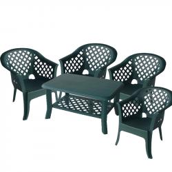 Градински комплект Memo.bg Largo Nish G, Маса с 4 стола, Зелен, Пластмасови  - Градински комплекти