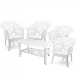 Градински комплект Memo.bg Largo Nish W, Маса с 4 стола, Бял, Пластмасови  - Градински комплекти