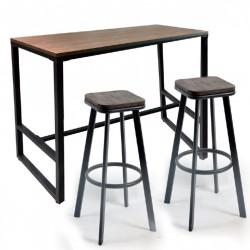 Бар маса Memo.bg модел 11-Barsi BM, размер: 120/48/103.5 см, цвят: дъб/черен, материал: МДФ/ боядисан метал -