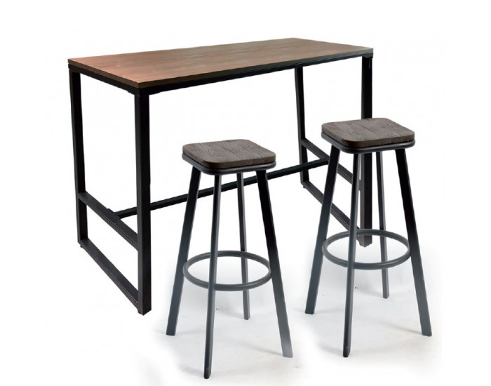 Бар маса Мебели Богдан модел 11-Barsi BM, размер: 120/48/103.5 см, цвят: дъб/черен, материал: МДФ/ боядисан метал -