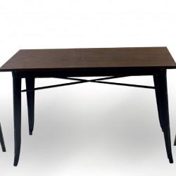 Бар маса Memo.bg модел 20-DONY Wood BM, цвят: антично черен, размер: 120/60/76 см, материал: масив / метал -