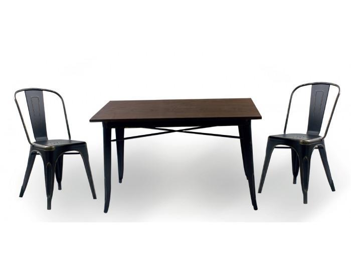 Бар маса Memo.bg модел 20-DONY Wood BM, цвят: антично черен, размер: 120/60/76 см, материал: масив / метал - Бар маси