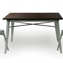 Бар маса Memo.bg модел 20-DONY Wood BM, цвят: антично бял, размер: 120/60/76 см, материал: масив / метал -