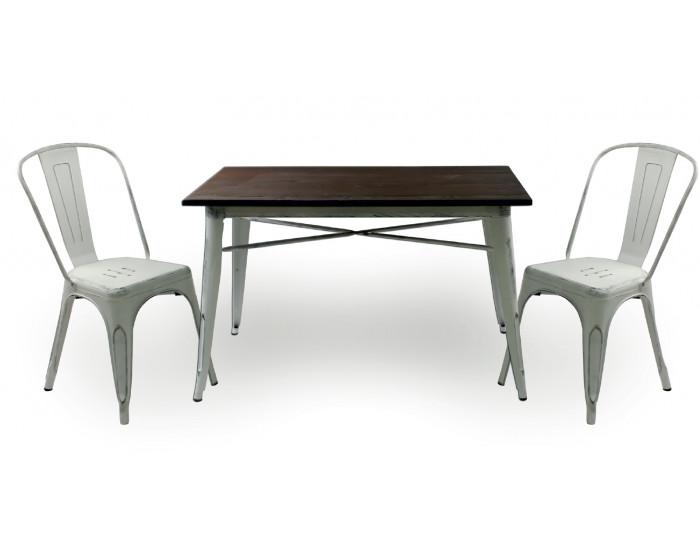 Бар маса Memo.bg модел 20-DONY Wood BM, цвят: антично бял, размер: 120/60/76 см, материал: масив / метал - Бар маси