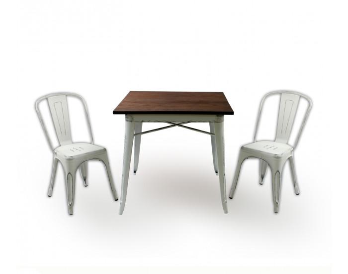 Бар маса Memo.bg модел 19-Kubo Wood BM, цвят: антично бял - Бар маси