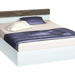 Легло с табла и бленда Memo.bg, модел BM-Ava, цвят бяло гланц и орех - Легла