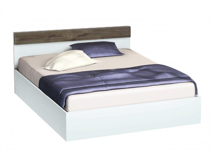 Легло с табла и бленда Мебели Богдан, модел BM-Ava, цвят бяло гланц и орех