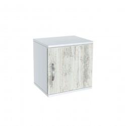 Нощно шкафче Memo.bg, модел BM-Ava 1, бял гланц и кристал - Нощни шкафчета