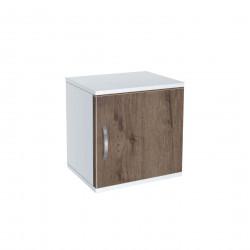 Нощно шкафче Memo.bg, модел BM-Ava 1, бял гланц и орех - Нощни шкафчета