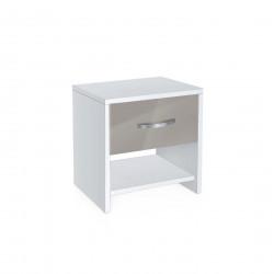 Нощно шкафче Memo.bg, модел BM-Ava 2, бял гланц и сиво - Genomax