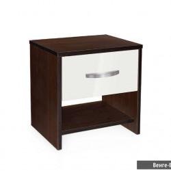 Нощно шкафче Мебели Богдан, модел BM-Ava 2, венге и бял гланц - Нощни шкафчета