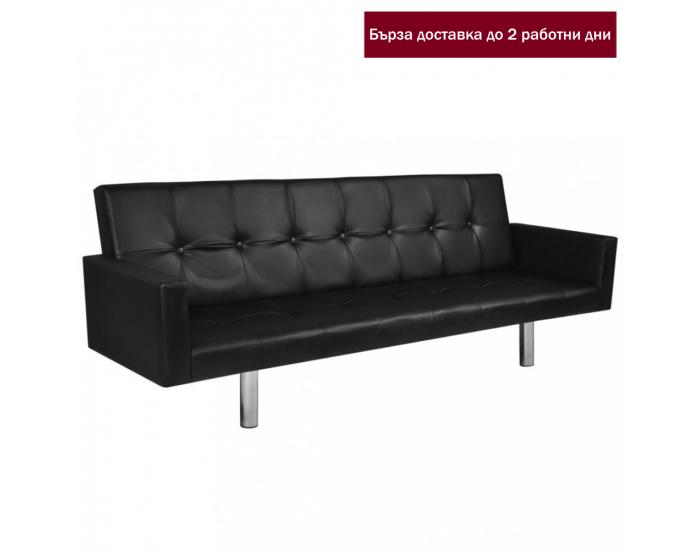 Sonata Разтегателен диван с подлакътници, изкуствена кожа, черен -