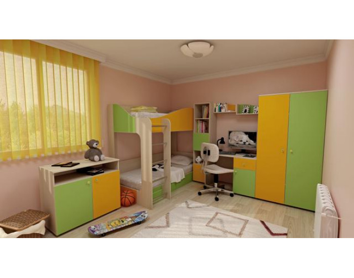 Детска стая Мебели Богдан Модел BM Mona, в цвят бежово и зелено - Комплекти детско обзавеждане