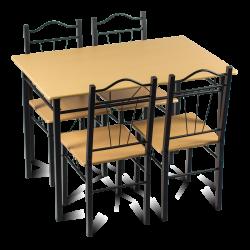 Комплект маса с 4 стола модел Memo-20009 - бук - Комплекти маси и столове