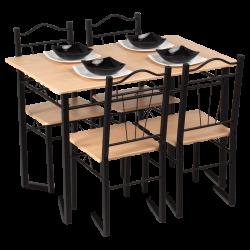 Комплект маса с 4 стола модел Memo-20009 - дъб - Комплекти маси и столове