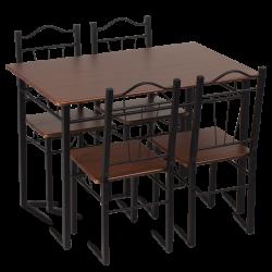 Комплект маса с 4 стола модел Memo-20009 - тъмен орех - Комплекти маси и столове