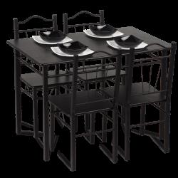 Комплект маса с 4 стола модел Memo-20009 - венге - Комплекти маси и столове