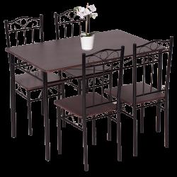 Комплект маса с 4 стола модел Memo-20009 G - тъмен орех 2 - Комплекти маси и столове