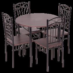 Комплект маса с 4 стола модел Memo-20013 - тъмен орех 2 - Комплекти маси и столове