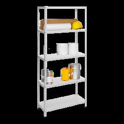 Метален стелаж модел Memo-Basic 170x75x30 см, до 75 кг на рафт - бял - Мебели от метал