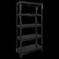 Метален стелаж модел Memo-Hard 180x90x40 см, до 130 кг на рафт  - черен - Мебели от метал